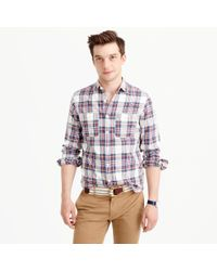 J.Crew Multicolor Midweight Flannel Shirt In Alabaster Plaid for men