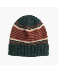 J.Crew | Green Lambswool Beanie Hat In Blanket Stripe for Men | Lyst