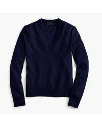 J.Crew | Blue Italian Cashmere Easy V-neck Sweater | Lyst