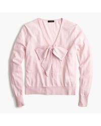 J.Crew | Pink Lightweight Wool Bow Sweater | Lyst