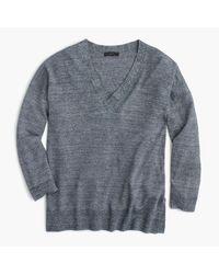 J.Crew | Gray Merino Wool-linen V-neck Sweater | Lyst
