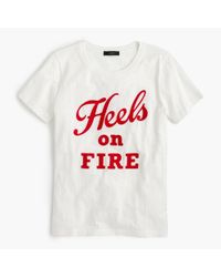 "J.Crew | White Vintage Cotton T-shirt In ""heels On Fire"" 
