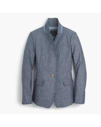 J.Crew | Blue Tall Chambray Regent Blazer With Ruffle Trim | Lyst