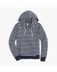 J.Crew | Blue Fleece Henley Hoodie In Nautical Stripe for Men | Lyst