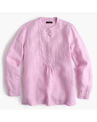 J.Crew | Pink Popover Shirt In Irish Linen | Lyst
