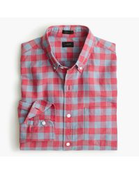 J.Crew | Red Slim Cotton-linen Shirt In Gingham for Men | Lyst