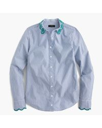J.Crew | Blue Tall Striped Perfect Shirt With Eyelet Trim | Lyst