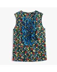 J.Crew | Blue Collection Ruffle-front Top In Liberty Edenham Floral | Lyst