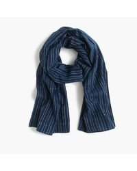 J.Crew | Blue Lightweight Indigo-dyed Cotton Scarf In Stripe for Men | Lyst