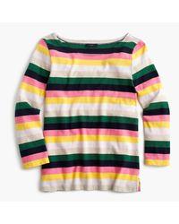 J.Crew | Blue Boatneck T-shirt In Vintage Stripe | Lyst