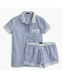 J.Crew | Blue Striped Pajama Set In End-on-end Cotton | Lyst