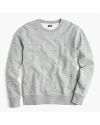 J.Crew | Gray Crewneck Sweatshirt In Embroidered Lighthouses for Men | Lyst