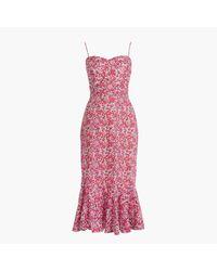 J.Crew | Multicolor Ruffle-hem Midi Dress In Liberty Wiltshire Floral | Lyst