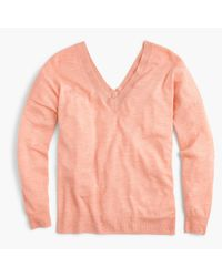 J.Crew - Pink Italian Featherweight Cashmere Double V-neck Sweater - Lyst