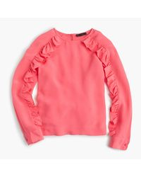 J.Crew | Pink Collection Crepe De Chine Top With Ruffle Sleeves | Lyst