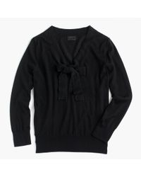 J.Crew | Black Tie-neck Sweater In Italian Featherweight Cashmere | Lyst