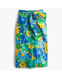 J.Crew | Blue Tall Tie-waist Skirt In Puckered Morning Floral | Lyst