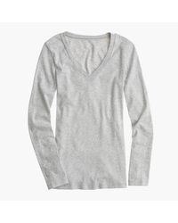 J.Crew | Gray Perfect-fit Long-sleeve V-neck T-shirt | Lyst