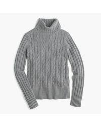 J.Crew   Gray Cambridge Cable Chunky Turtleneck Sweater   Lyst