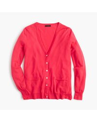 J.Crew - Red Classic Merino Wool Long Cardigan Sweater - Lyst