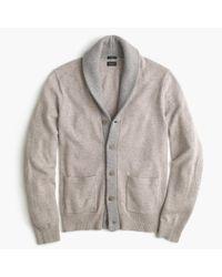 J.Crew   Gray Slim Softspun Contrast Cardigan Sweater for Men   Lyst