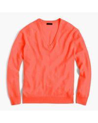 J.Crew | Orange Italian Cashmere Boyfriend V-neck Sweater | Lyst