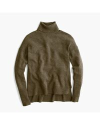 J.Crew | Green Relaxed Wool Turtleneck Sweater With Rib Trim | Lyst