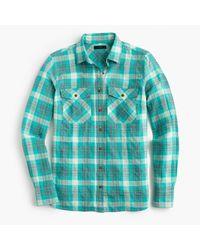 J.Crew | Green Boyfriend Shirt In Emerald Plaid | Lyst