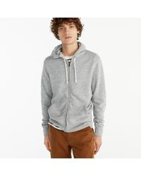 J.Crew - Gray Brushed Fleece Zip Hoodie for Men - Lyst