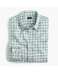 J.Crew | Blue Slub Cotton Shirt In Gingham for Men | Lyst