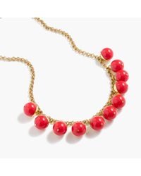 J.Crew - Red Beaded Gold Necklace - Lyst
