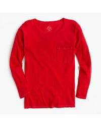 J.Crew | Red Long-sleeve Garment-dyed Pocket T-shirt | Lyst
