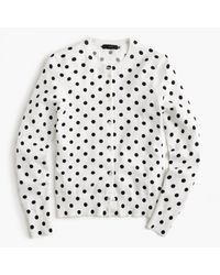 J.Crew | White Cotton Jackie Cardigan Sweater In Dot | Lyst