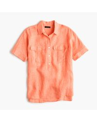 J.Crew - Pink Tall Short-sleeve Popover Shirt In Irish Linen - Lyst