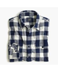 J.Crew | Blue Midweight Flannel Shirt In Navy Buffalo Check for Men | Lyst