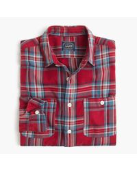 J.Crew | Midweight Flannel Shirt In Red Plaid for Men | Lyst