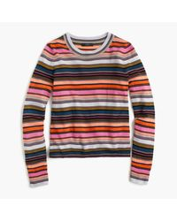 J.Crew | Red Rainbow Stripe Sweater In Merino Wool | Lyst