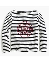 J.Crew | Blue Striped Boatneck T-shirt With French Logo | Lyst