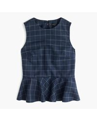 J.Crew | Blue Peplum Top In Windowpane Print | Lyst