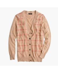 J.Crew | Multicolor Classic V-neck Cardigan Sweater In Windowpane Print | Lyst