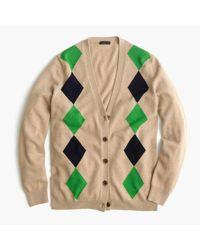 J.Crew - Green Italian Cashmere Boyfriend Cardigan Sweater In Argyle - Lyst