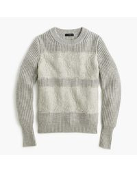 J.Crew | Gray Collection Lace Stripe Crewneck Sweater | Lyst