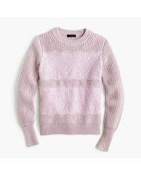 J.Crew | Pink Collection Lace Stripe Crewneck Sweater | Lyst