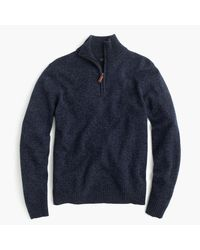 J.Crew | Blue Marled Lambswool Half-zip Sweater for Men | Lyst