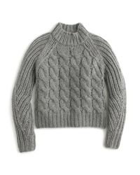 J.Crew | Gray Collection Italian Cashmere-mohair Cable Mock Neck Sweater | Lyst