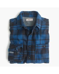 J.Crew | Wallace & Barnes Heavyweight Flannel Shirt In Blue Check for Men | Lyst