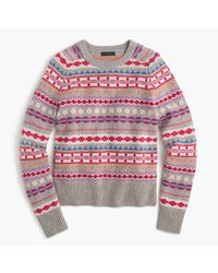J.Crew | Pink Holly Sweater In Fair Isle | Lyst