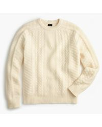 J.Crew | White Wool Cable Crewneck Sweater In Ivory | Lyst