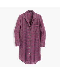J.Crew | Purple Silk Nightshirt In Jewel Dot Print | Lyst