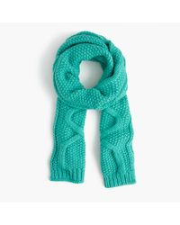 J.Crew | Green Cable Scarf In Italian Wool Blend | Lyst